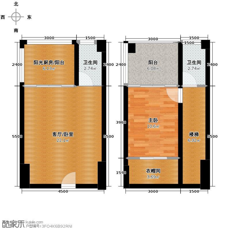 北湖卡夫诺42.89㎡A1户型10室