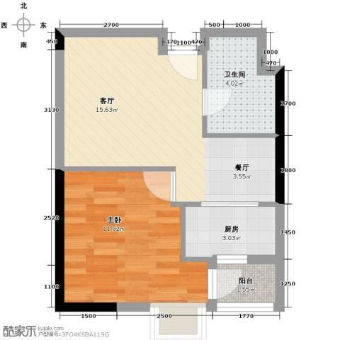 联发广场1室1厅1卫1厨61.00㎡户型图