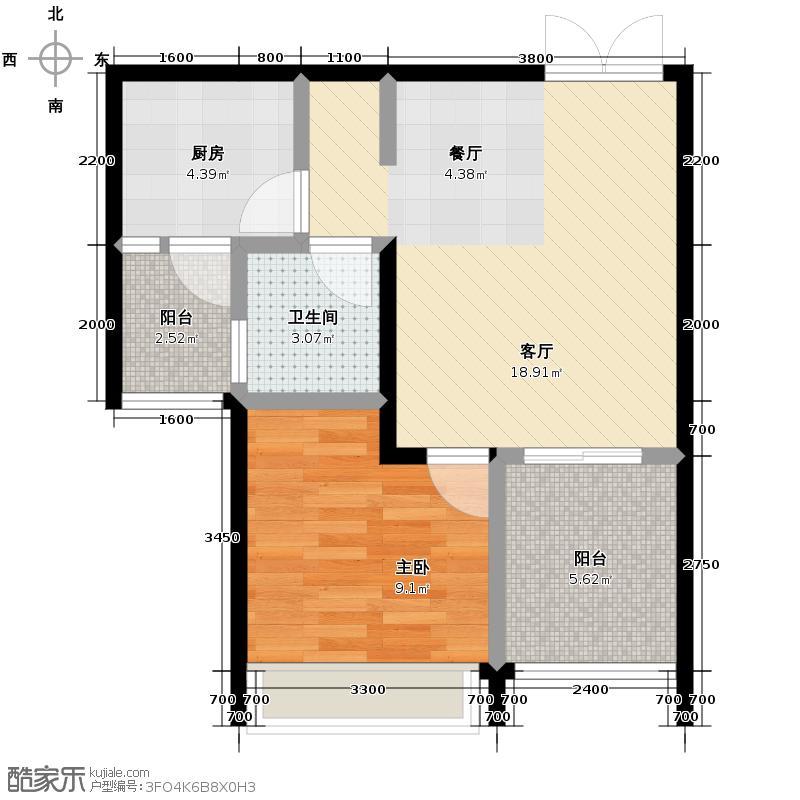 光华观府国际55.00㎡12号楼7号房户型1室2厅1卫