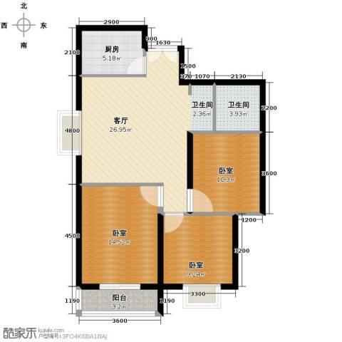 上林沣苑3室2厅1卫0厨108.00㎡户型图