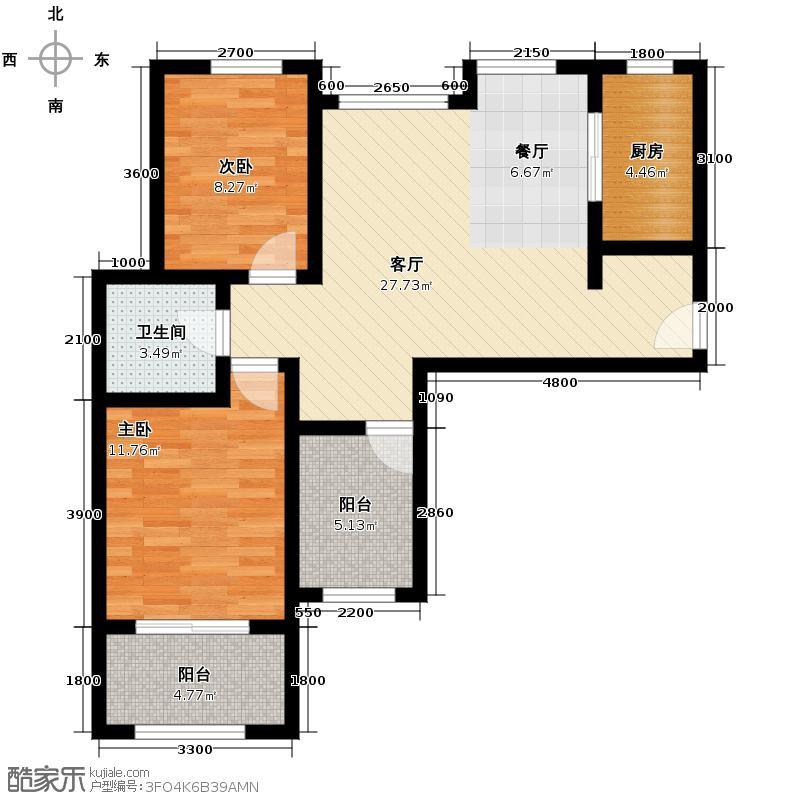 悦美国际88.00㎡2+D1户型2室2厅1卫