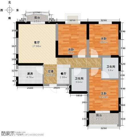 明林庭苑3室2厅2卫0厨107.00㎡户型图