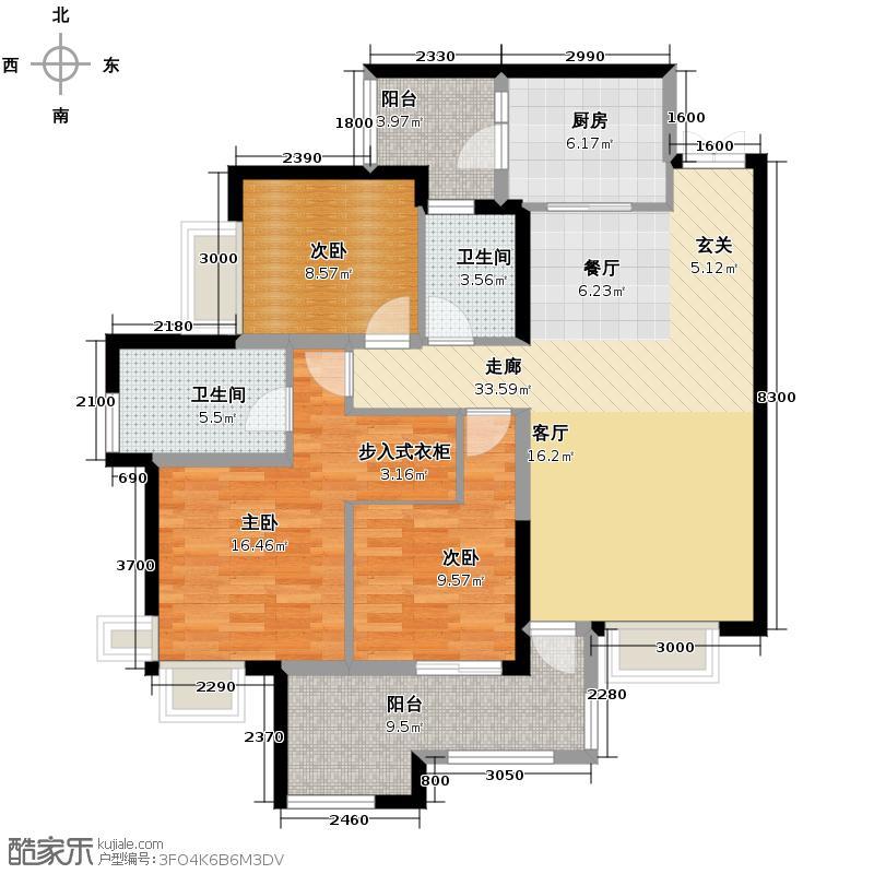 华润中央公园115.00㎡项目三期玺岸C1三居室户型3室2厅2卫