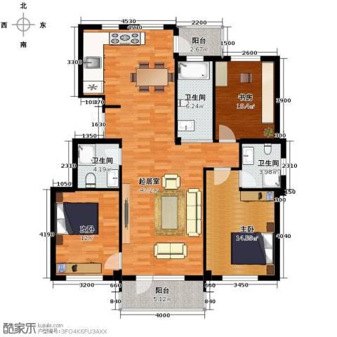 兰亭假日3室2厅2卫0厨132.00㎡户型图