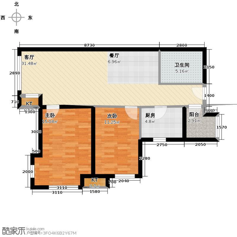橡树湾103.00㎡F户型2室2厅1卫