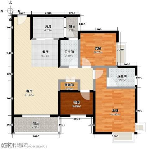 中房千寻3室1厅2卫1厨83.00㎡户型图