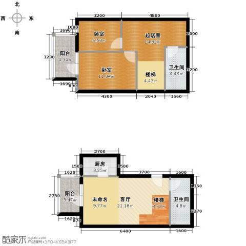 青年都会2室2厅2卫0厨106.00㎡户型图