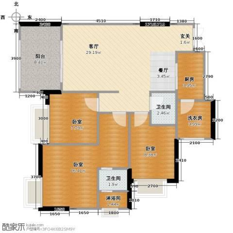 融汇温泉城锦华里1厅2卫1厨97.00㎡户型图