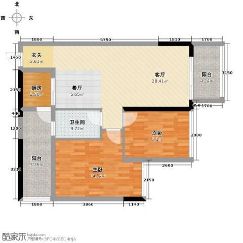 盛天公馆2室1厅1卫1厨78.00㎡户型图