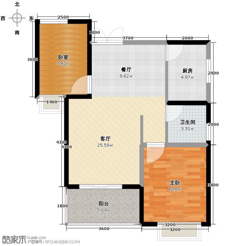 水榭湾85.06㎡D2户型2室2厅1卫
