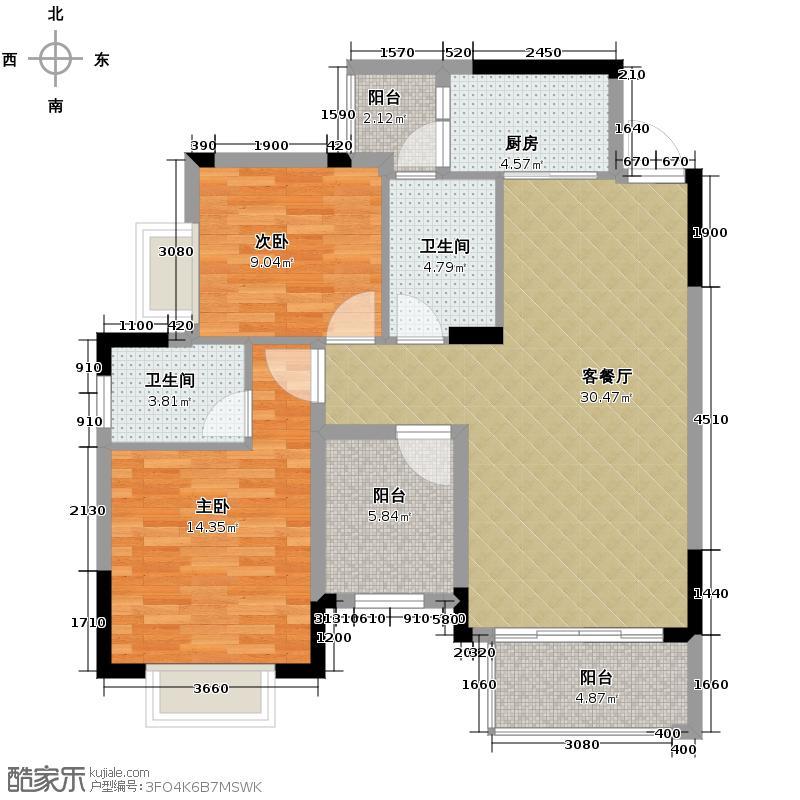 莱茵湖畔90.83㎡C2三单元08号房户型2室1厅2卫1厨