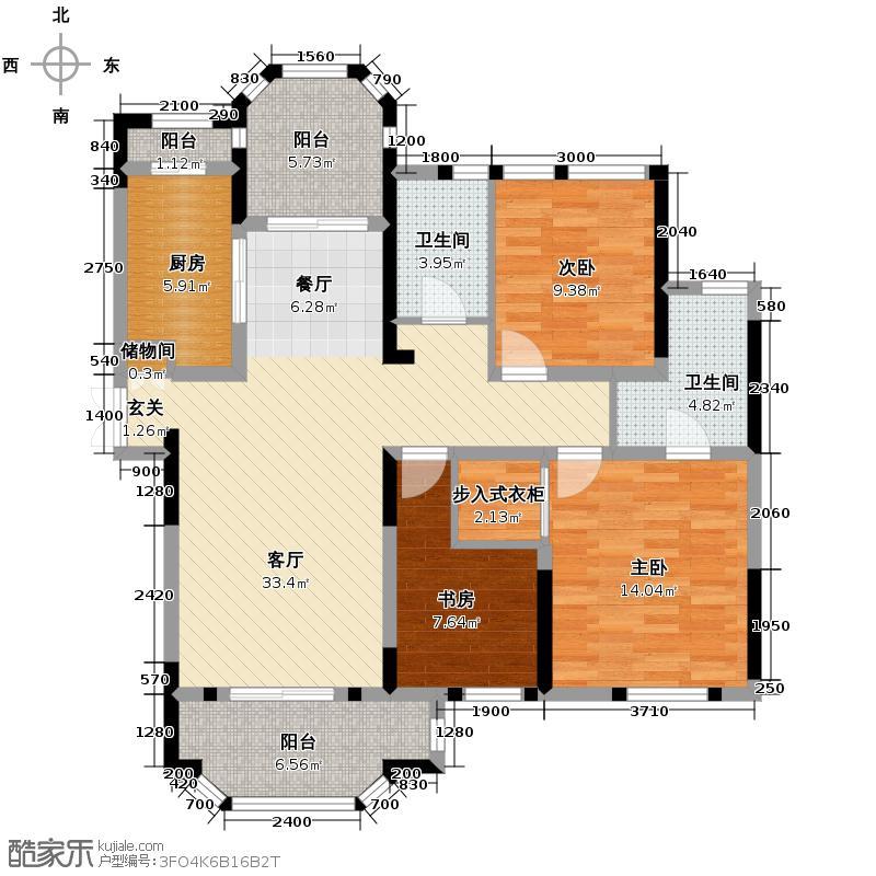 紫金伴山128.02㎡C2户型3室2厅2卫