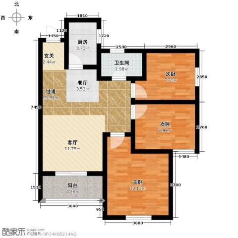 汉城湖畔3室2厅1卫0厨97.00㎡户型图