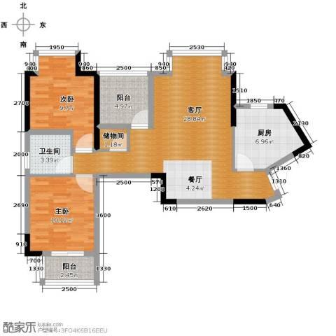 兰亭熙园2室1厅1卫1厨86.00㎡户型图