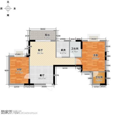 福地华庭2室1厅2卫1厨78.45㎡户型图