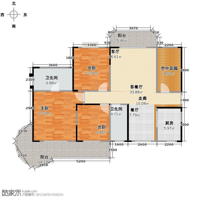 永祺西京143.00㎡3+1户型4室2厅2卫