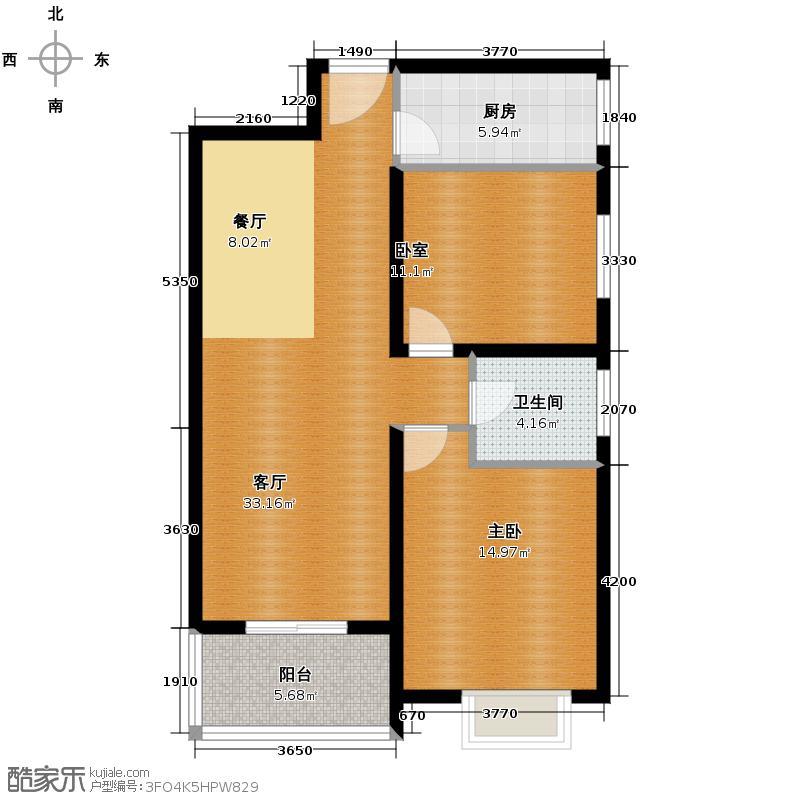 汇鑫花园93.82㎡2号楼C户型1室1厅1卫1厨