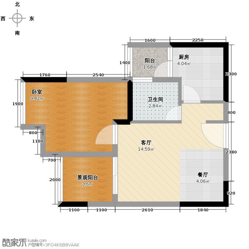 北麓国际城38.34㎡高层34910号房双阳台户型1室2厅1卫