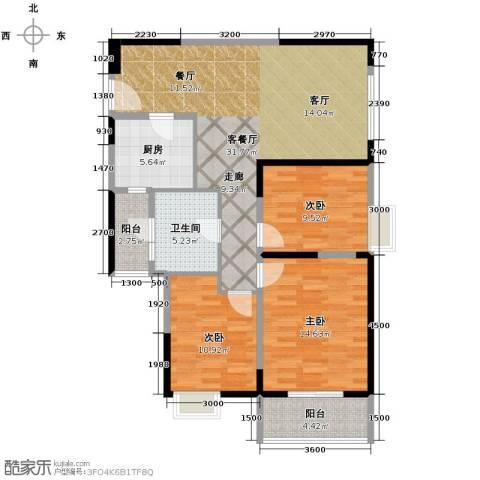 金地雄楚1号3室2厅1卫0厨110.00㎡户型图