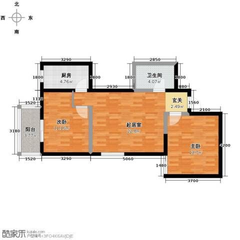 明林庭苑2室1厅1卫0厨86.00㎡户型图