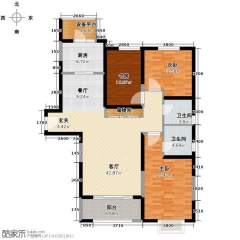 仁恒河滨花园3室2厅2卫0厨156.00㎡户型图