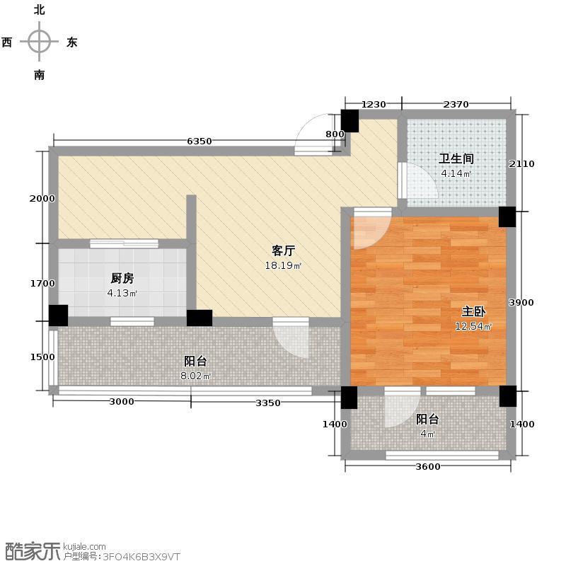 绿城紫薇广场59.73㎡D-B户型1室2厅1卫