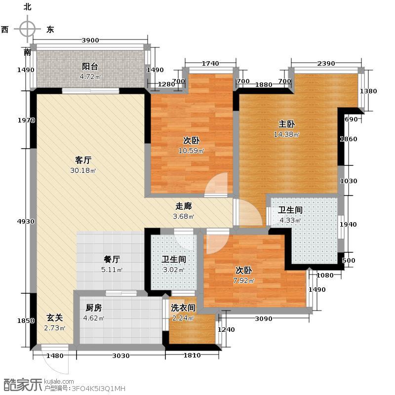 大鼎世纪滨江84.79㎡一期1栋标准层1、3号房5栋标准层6、8号房户型3室2厅2卫