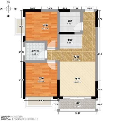 华宇・秋水长天2室0厅1卫1厨62.00㎡户型图