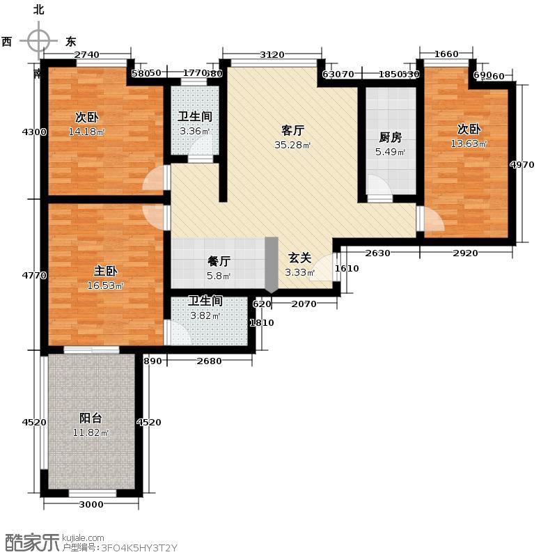 西港雅苑147.77㎡F户型3室1厅2卫1厨