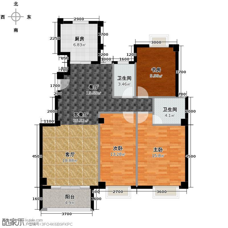 联发滨海琴墅122.00㎡洋房C面布置图户型3室2厅2卫