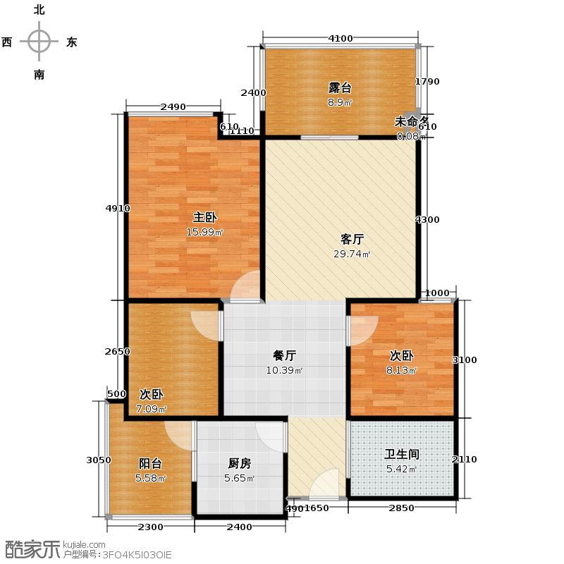 双景秀庭93.36㎡户型3室1厅1卫1厨