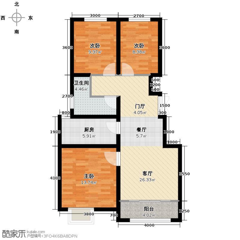 保利香颂湖98.00㎡98户型3室1厅1卫1厨