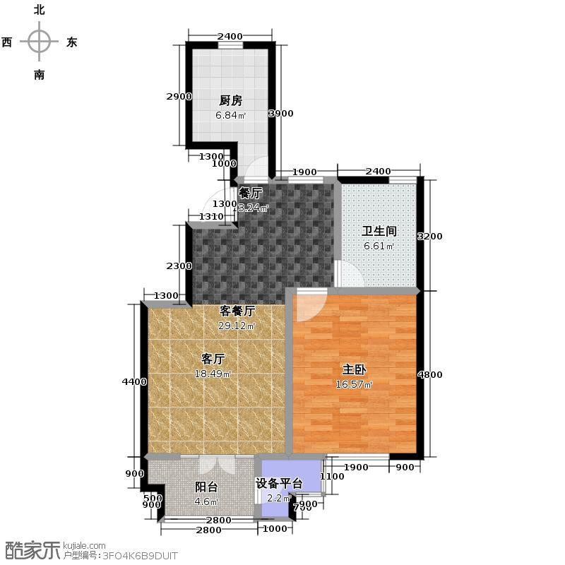 路劲领山85.00㎡D顶层户型1室2厅1卫