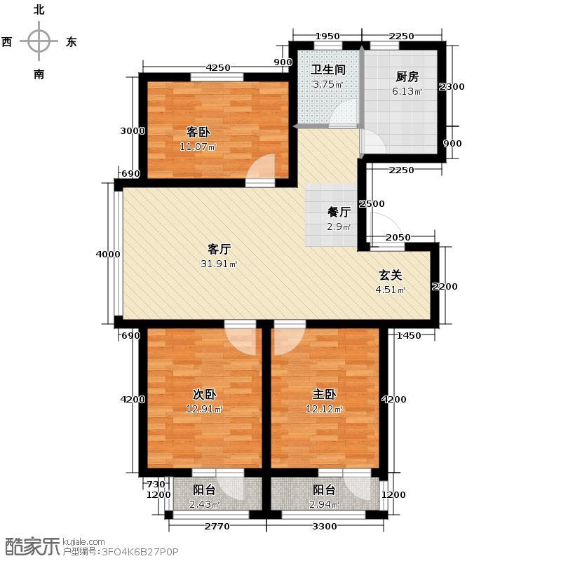 南湖明珠115.03㎡E户型3室2厅1卫