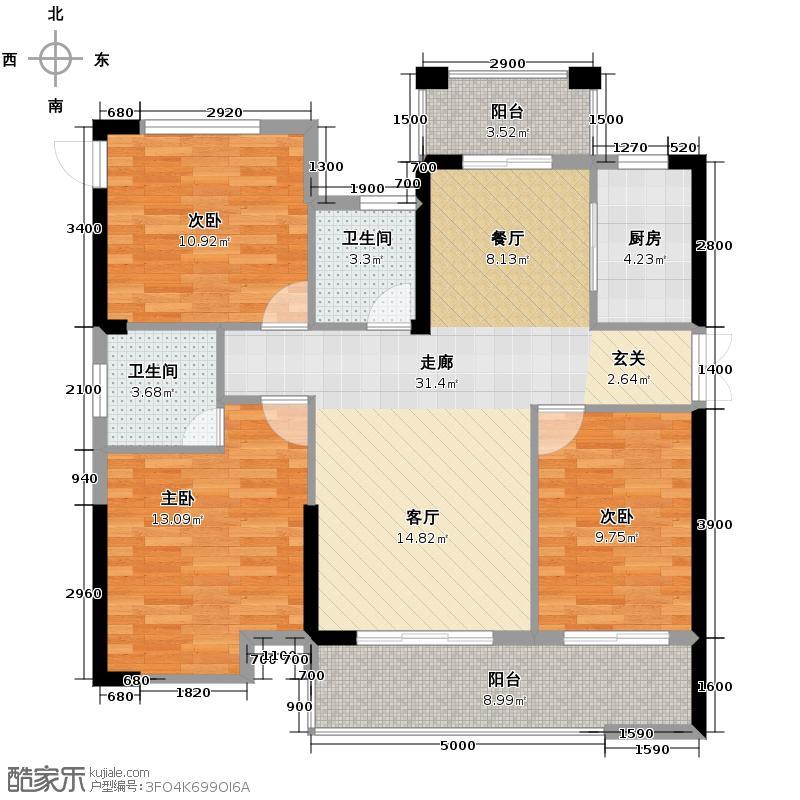 乾城110.73㎡M户型3室2厅2卫