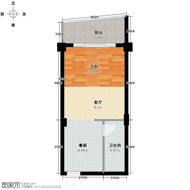 鑫金怡园42.42㎡户型1室1卫