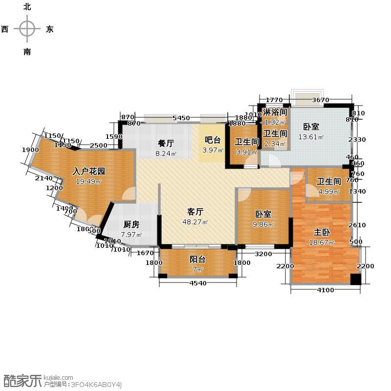 """雅居乐鸿禧华庭141.04㎡二期""""世家""""13-14D2-2户型1室1厅3卫"""