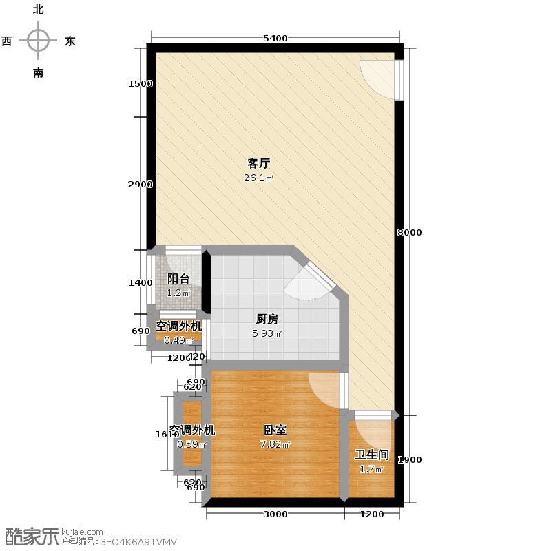 中南国际城二期64.00㎡A1-F户型1室2厅1卫