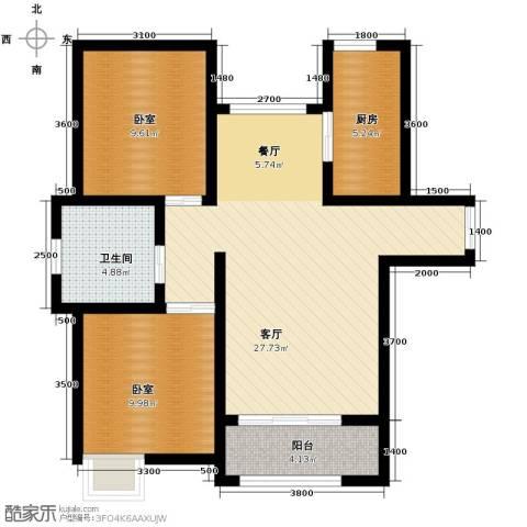 保利玫瑰湾2室2厅1卫0厨92.00㎡户型图