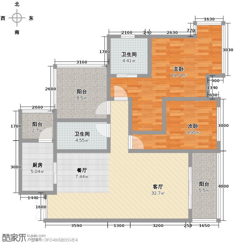 江润地中海岸90.69㎡一期高层13号楼B5户型2室1厅2卫1厨