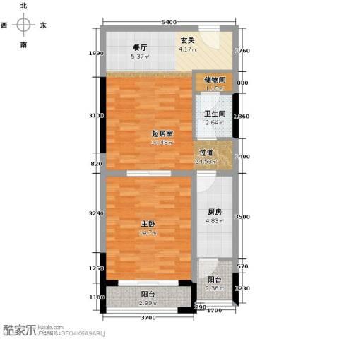 仁恒河滨花园1室2厅1卫0厨74.00㎡户型图