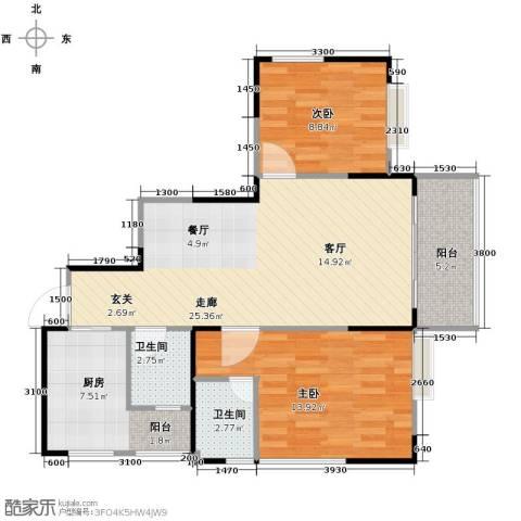 恒鑫名城二期2室0厅2卫1厨90.00㎡户型图