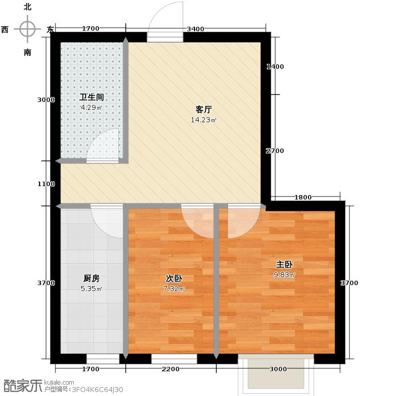 亿海阳光61.00㎡户型2室1厅1卫