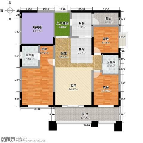 长城半岛城邦3室0厅2卫1厨144.00㎡户型图