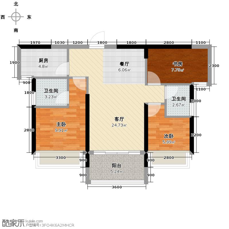 盛天国际73.77㎡1号楼户型3室1厅2卫1厨