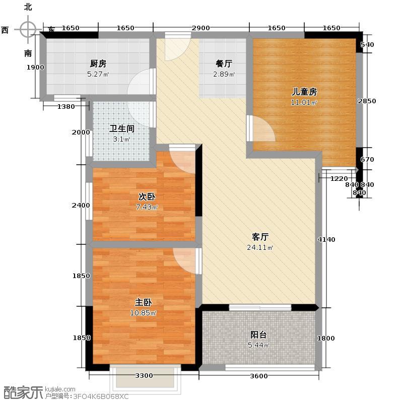 东原时光道91.00㎡3A2户型3室1厅1卫1厨