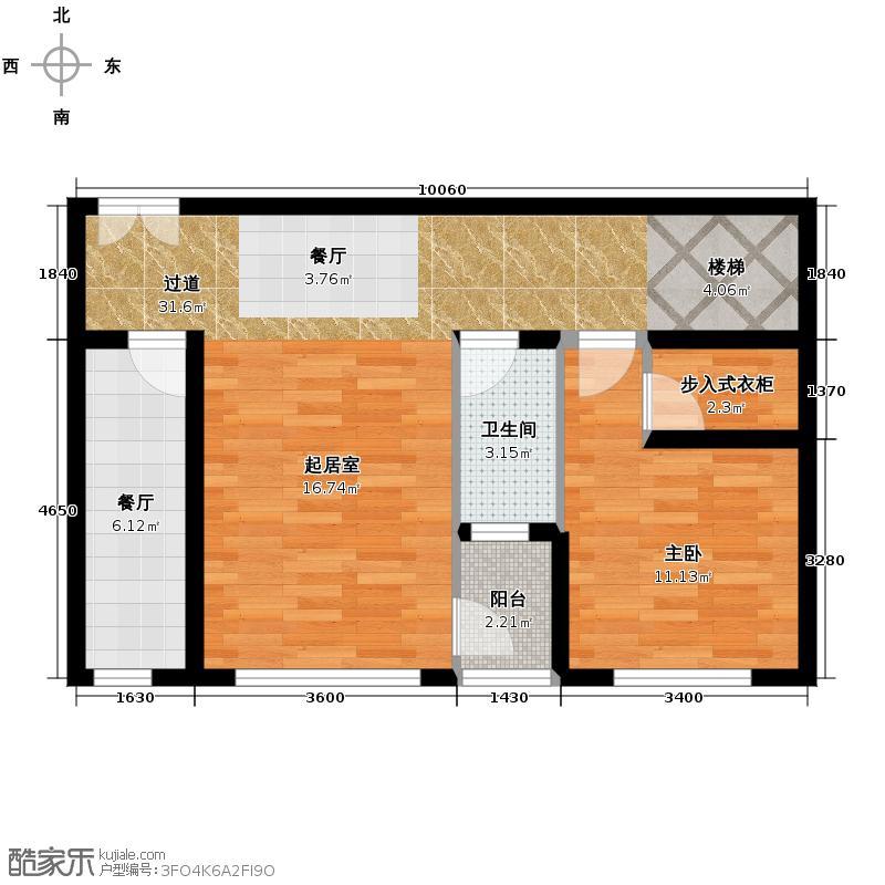 北湖卡夫诺118.85㎡一期E2户型2室1厅1卫