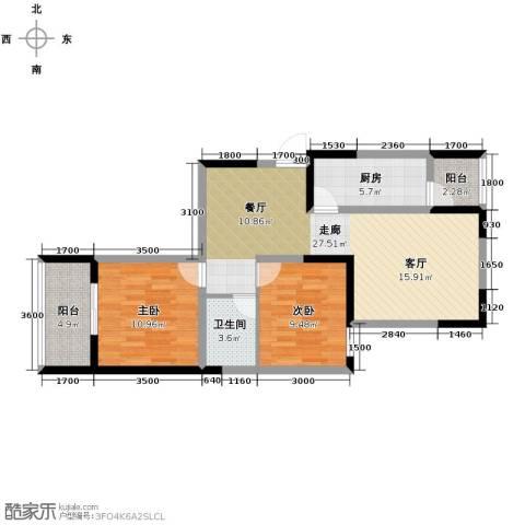 爱情公寓2室2厅1卫0厨91.00㎡户型图