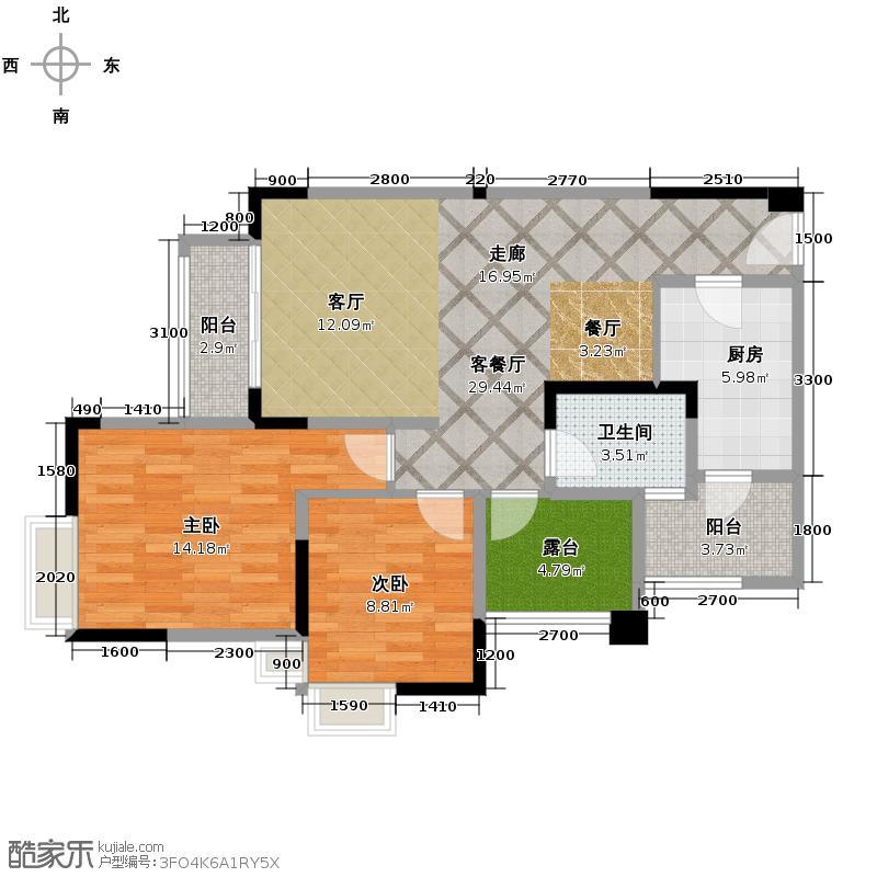 融汇半岛艾德公馆75.00㎡5号楼A双卫户型2室1厅1卫1厨
