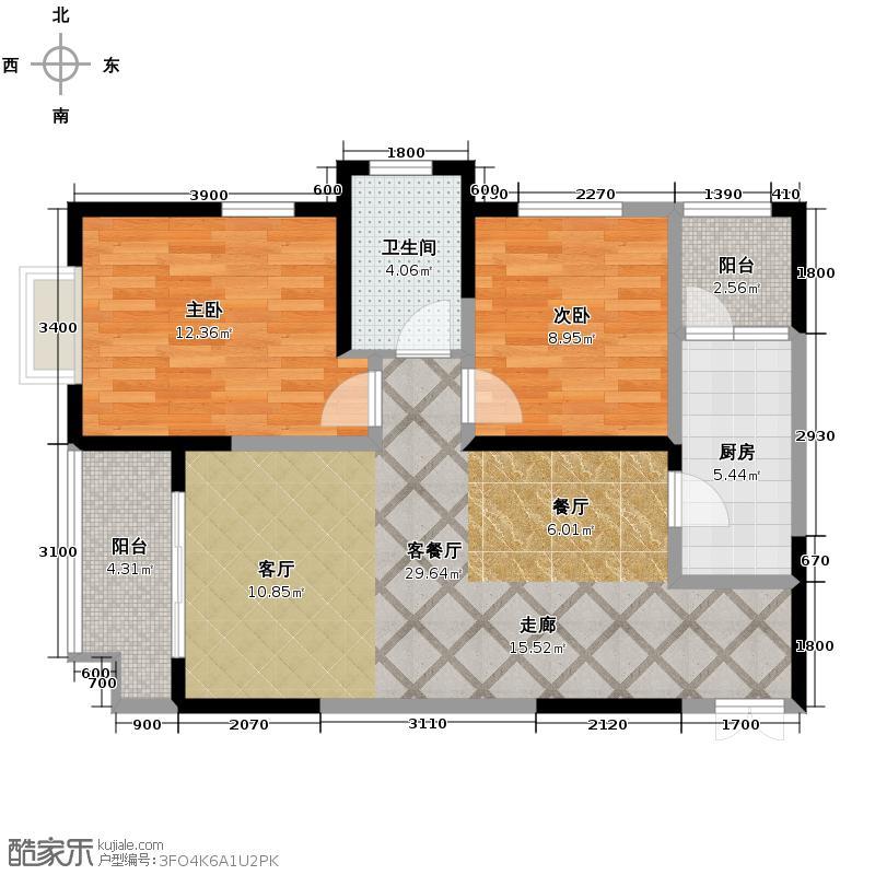 中闻传媒广场90.24㎡A户型2室2厅1卫